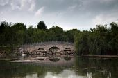 Traditional Chinese Stone Bridge Across The Lake Lost In Green Trees In A Park
