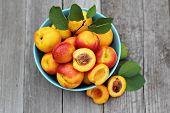 Fresh peaches in blue bowl