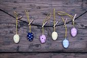 Many Easter Eggs Hanging On Line