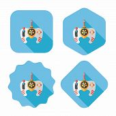 Game Controller Flat Icon With Long Shadow