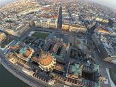Hungarian parliament in Budapest seen from above
