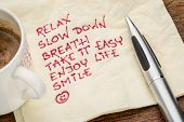 stock photo of handwriting  - stress reduction concept  - JPG