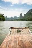 pic of raft  - Bamboo rafting li river from guilin to yangshuo china - JPG