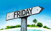 Friday sign with a beach on background