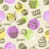 Seamless pattern with sweet cakes and sweets