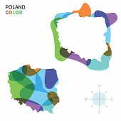 Abstract vector color map of Poland with transparent paint effect.