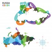 Abstract vector color map of Russia with transparent paint effect.