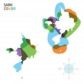 Abstract vector color map of Sark with transparent paint effect.