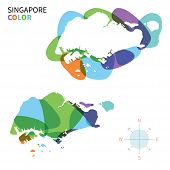 Abstract vector color map of Singapore with transparent paint effect.