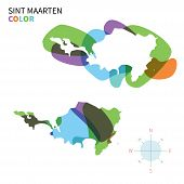 Abstract vector color map of Sint Maarten with transparent paint effect.