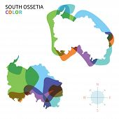 Abstract vector color map of South Ossetia with transparent paint effect.