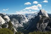 stock photo of granite dome  - Panoramic view of the Half Dome at the Yosemite Valley - JPG