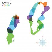 Abstract vector color map of Sweden with transparent paint effect.