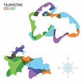 Abstract vector color map of Tajikistan with transparent paint effect.