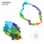 Abstract vector color map of Tanzania with transparent paint effect.