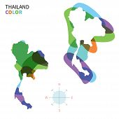Abstract vector color map of Thailand with transparent paint effect.