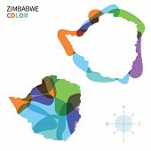 Abstract vector color map of Zimbabwe with transparent paint effect.