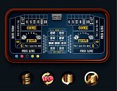 stock photo of crap  - Detailed craps casino table with related icons - JPG