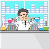 Illustration Of A Chemistry Or Scientist In Laboratory.