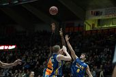 VALENCIA, SPAIN - JANUARY 24: Various players during Spanish League match between Valencia Basket Club and UCAM Murcia at Fonteta Stadium on January 24, 2015 in Valencia, Spain