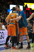 VALENCIA, SPAIN - JANUARY 24: Nedovi and Aguilar during Spanish League match between Valencia Basket Club and UCAM Murcia at Fonteta Stadium on January 24, 2015 in Valencia, Spain