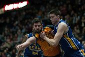 VALENCIA, SPAIN - JANUARY 24: Dubljevi (L) and Wood during Spanish League match between Valencia Basket Club and UCAM Murcia at Fonteta Stadium on January 24, 2015 in Valencia, Spain