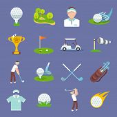 image of ball cap  - Golf sport icon flat set with golfer flag ball lawn isolated vector illustration - JPG