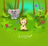 foto of jungle snake  - Jungle background template with wild animals illustration - JPG