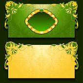 Vector green invitation card with frame