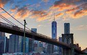 Brooklyn bridge and Manhattan skyline on July 4th New York USA