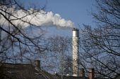 Industrial smoking chimney in city