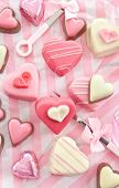 Pink Petit Fours In Heart Shape