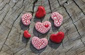 Seven Hearts On Wood