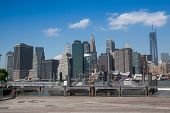 View Of Manhattan From Ferry Harbor In Brooklyn.
