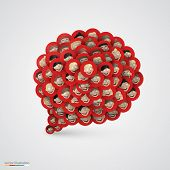 Red speech bubble made of smiling faces.