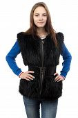 Image of the young woman in fur waistcoat