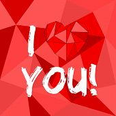 I love you red vector illustration with heart on red wrapping surface background