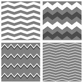 Tile vector chevron pattern set with white, black and grey zig zag background