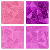Pink and violet triangle vector background collection