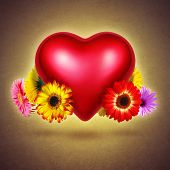 Red shining heart with colorful flowers hovering over textured yellow background