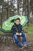 Spring In The Woods On A Stump Sits A Boy Under An Umbrella.