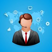 Technical support blue background. Man with icons.
