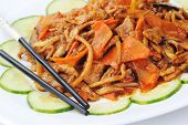 stock photo of chinese parsley  - Chinese cuisine dish steamed vegetables with meat - JPG