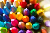 Crayon tips close-up. Shallow depth of field for dreamy impressional feel.