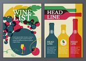 Set Of Vector Template For Brochure, Flyer, Poster, Wine List, Menu. Colorful Flat Illustration Back