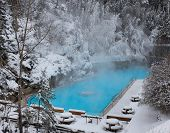 pic of radium  - Swimming pool at Radium hot springs in British Columbia in winter - JPG