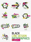 Set of minimal line design geometric presentation or web infographics. Black line concept icons with stickers, notes and other business design elements