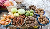 Raw Vegetables Ready For Sale At The Local Street Market In Samara, Russia