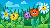 Flowers on meadow theme 2 - eps10 vector illustration.