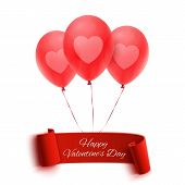 Happy Valentines day banner with three balloons
